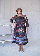 Нарядное платьетемно-синего цвета из масла с фатином и подъюбником 58