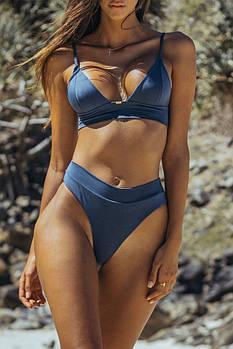 Купальник с высокой талией со стрингами раздельный бикини синий