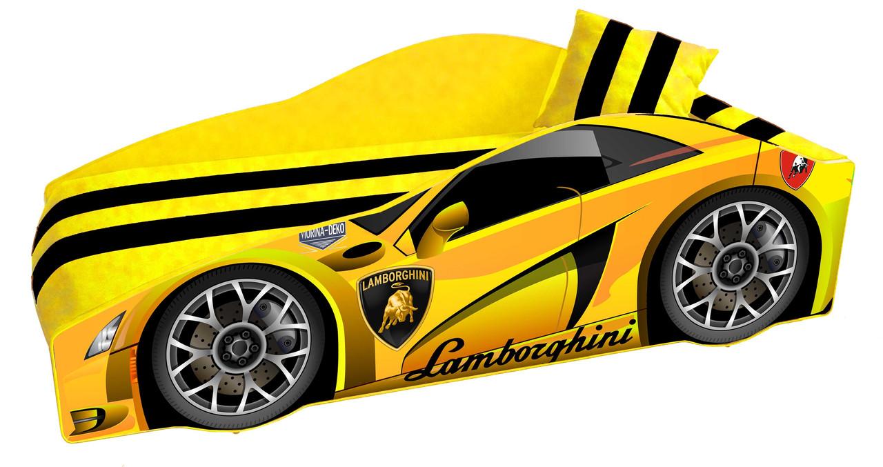 Кровать машинка Ламборгини машина серии Элит Ламборджини желтая Lamborghini с матрасом и бесплатной доставкой