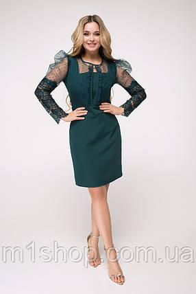 Красивое приталенное изумрудное платье с сеткой в горошек (Болеро lzn), фото 2