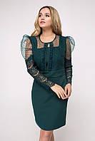 Красивое приталенное изумрудное платье с сеткой в горошек (Болеро lzn)
