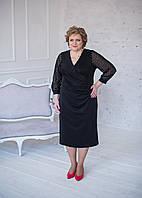 Нарядный комплект платье с кардиганом темно-синего цвета