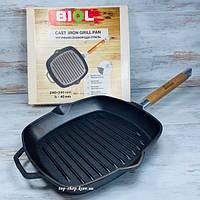 Сковорода-гриль чугунная со съемной ручкой 24 см Biol (Биол)