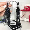 """Вечерние серьги - кисточки """"Венеция"""" ручной работы черного-золотого цвета с перьями."""