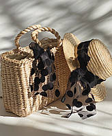 Корзина + шляпа с бантиками в горох