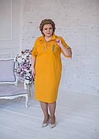 Платье-рубашка из стрейчевого льна горчичного цвета с черно-белой тесьмой, фото 1