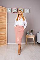 Прямая юбка с поясом персиковая