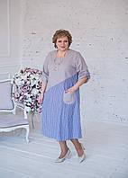 Платье-рубашка льняное серого цвета с голубой полоской 66