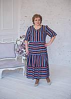 Стильное платье-рубашка из штапеля в полоску синего цвета, фото 1