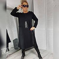 Женская стильная и свободная кофта-туника с молнией сбоку большие размеры