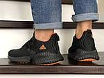 Мужские кроссовки Adidas (черно-оранжевые) 9016, фото 4