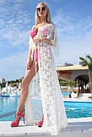 Женская длинная пляжная гипюровая накидка. Цвета в ассортименте