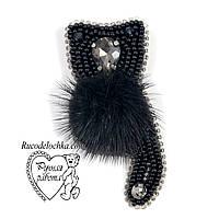 Брошка чорний кіт, кішка з каменів, намистин, бісеру, ручної роботи 5*3 см