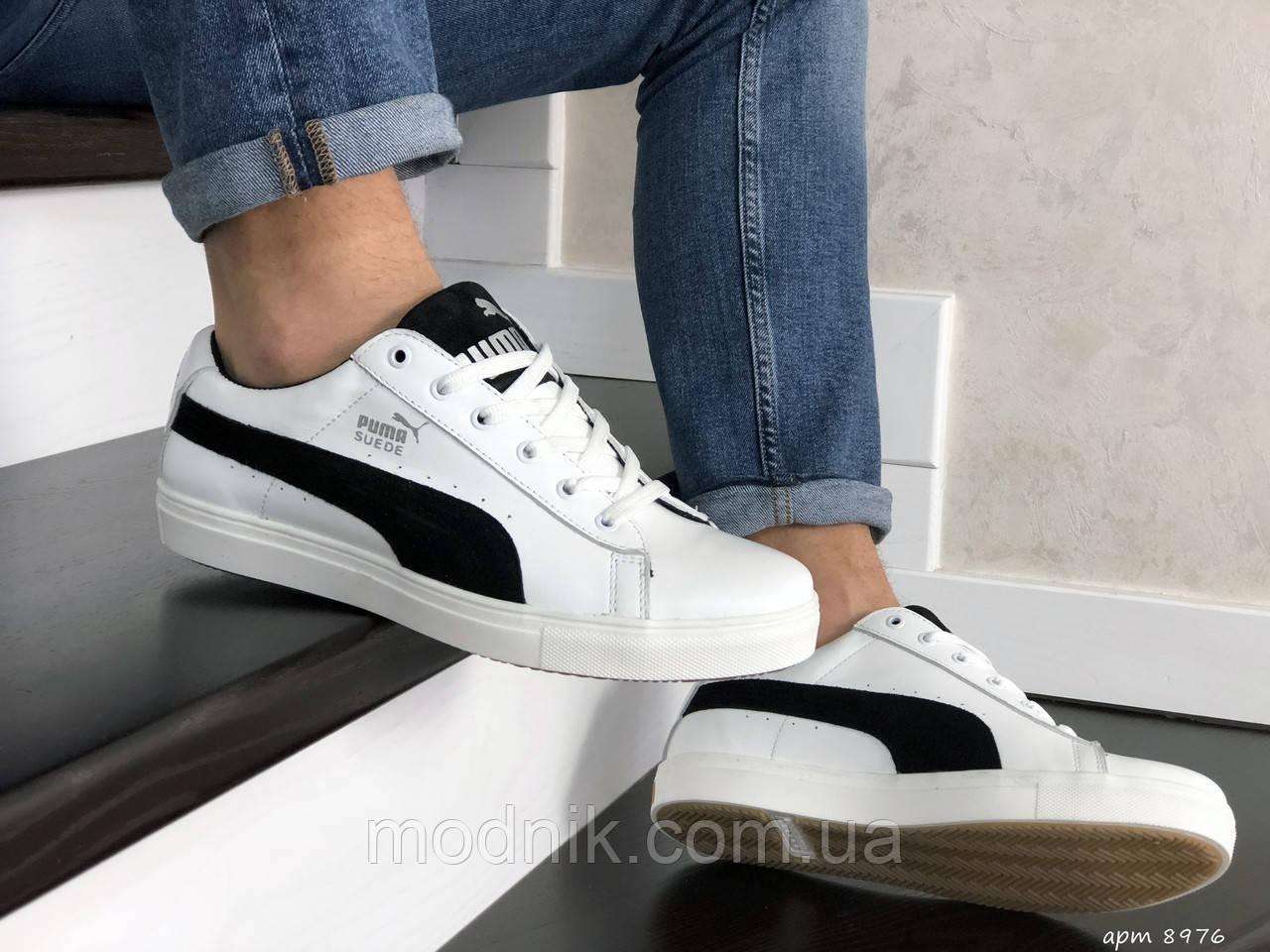 Мужские кроссовки Puma Suede (белые) 8976