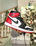 Мужские кроссовки Nike Air Jordan 1 Retro High OG (черно/бело/красные) 1359, фото 8