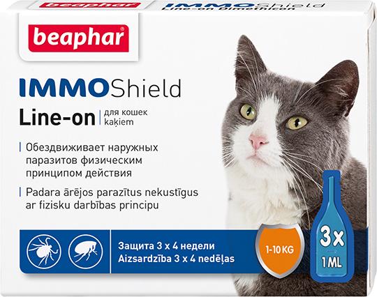 Капли от блох и клещей Beaphar IMMO Shield для котов и котят (цена за упаковку 3 шт)
