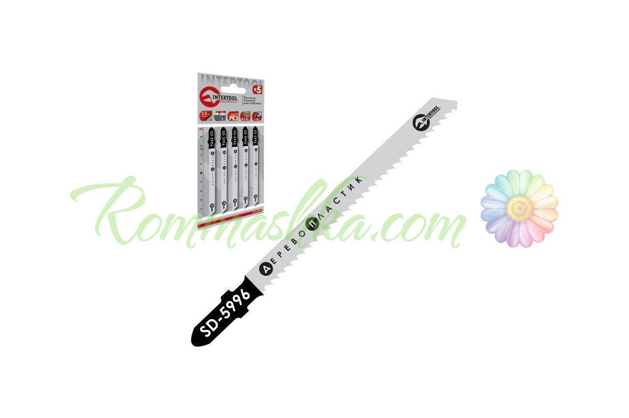 Полотно пильное для лобзика Intertool - 75 х 2,5 мм, дерево-пластик (5 шт.) SD-5996