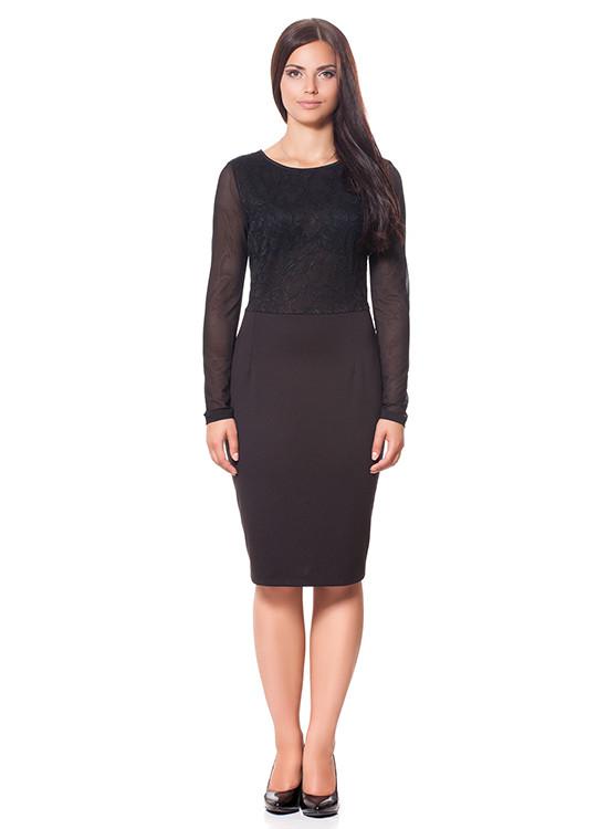 Элегантное женское черное платье (S-3XL)