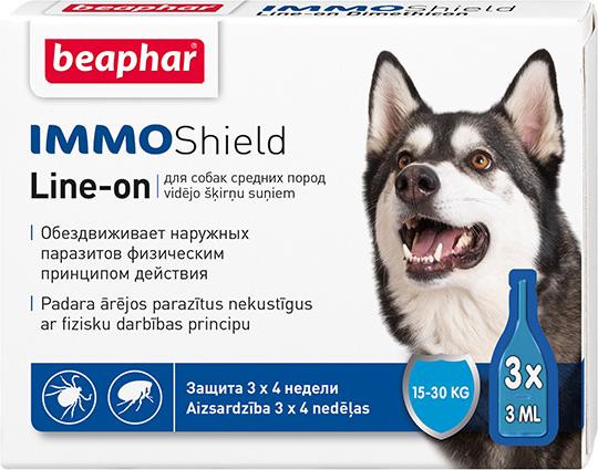 Капли от блох и клещей Beaphar IMMO Shield для собак от 15-30 кг (цена за упаковку 3 шт)