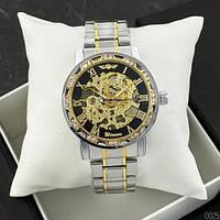 Механические наручные часы Winner ОРИГИНАЛ Diamonds Automatic Silver-Black-Gold