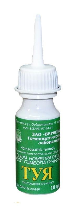 Масло Туи ранозаживляющее от аллергий микробов и вирусов гомеопатическое 10 мл Вербена