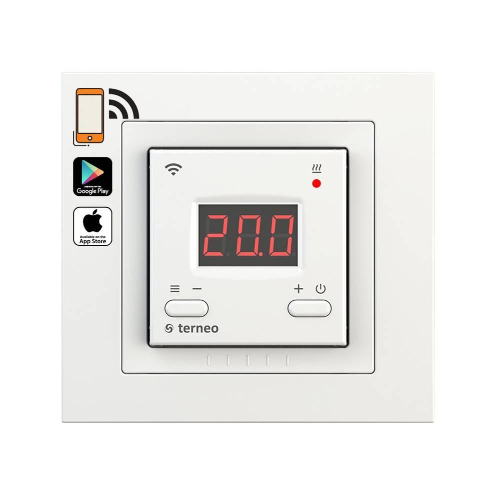 Кнопочный wi-fi программируемый регулятор для теплого пола Terneo AX, Wi-Fi / белый / рамка Unic