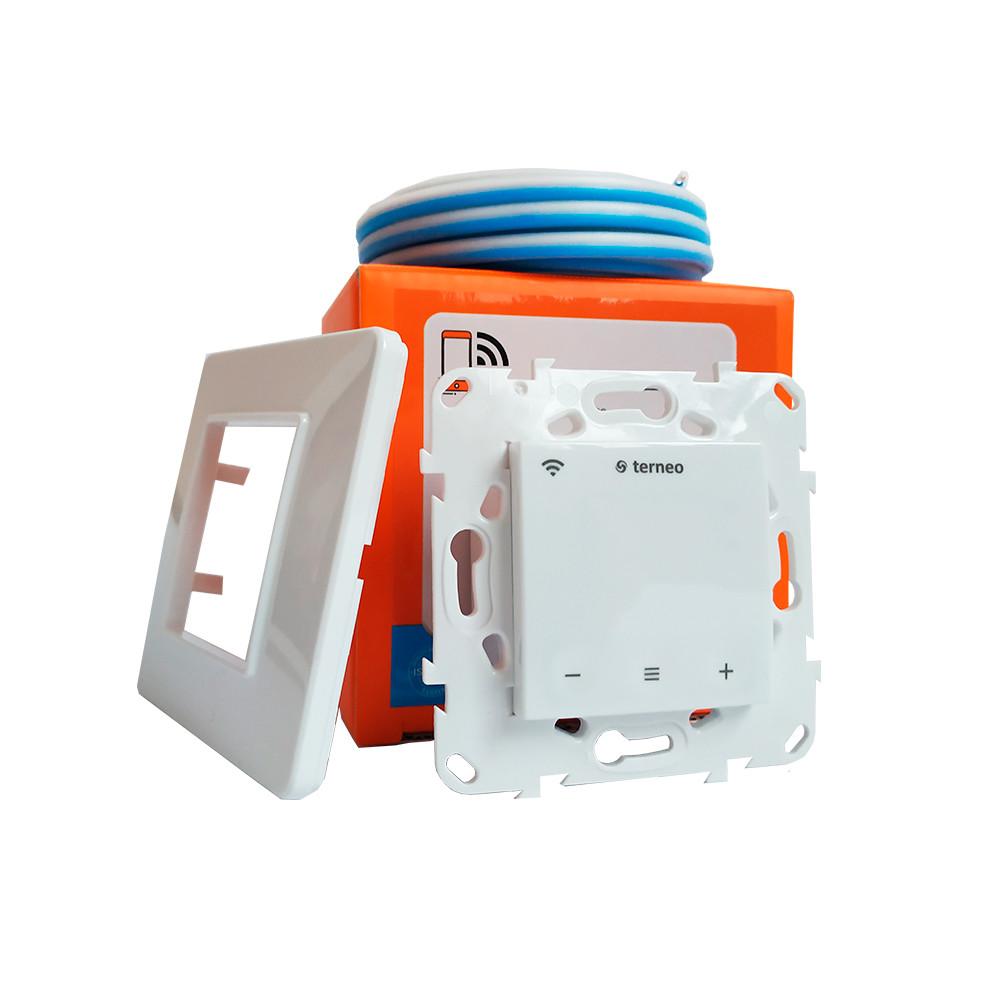 Сенсорный wi-fi программируемый регулятор для теплого пола Terneo SX, Wi-Fi / белый  с датчиком 10 кОм