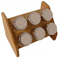 Набор для специй с деревянной подставкой Stenson MS-0368 Simply, 6 предметов