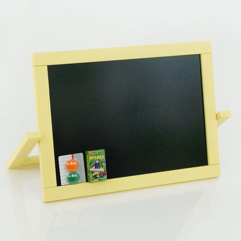 Мольберт настольный ПВХ М 009 двухсторонний магнитный + мелки, цвет желтый (1) размер доски 450*335мм.