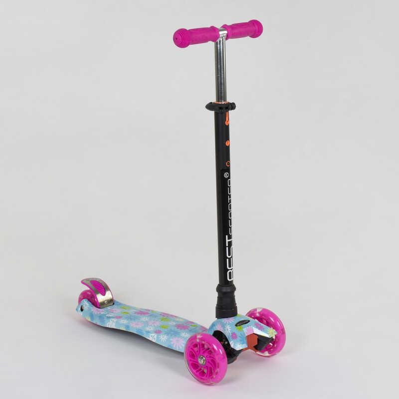 """Самокат А 25530 /779-1328 MAXI """"Best Scooter"""" (1) пластмассовый, 4 колеса PU, СВЕТ, трубка руля алюминиевая,"""