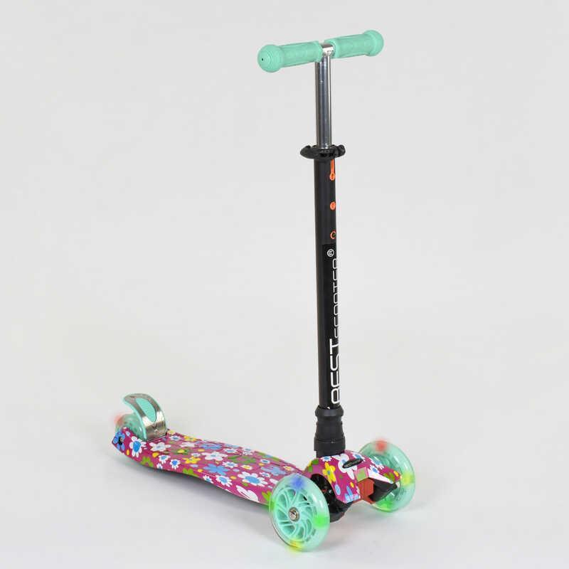 """Самокат А 25600 /779-1343 MAXI """"Best Scooter"""" (1) пластмассовый, 4 колеса PU, СВЕТ, трубка руля алюминиевая"""