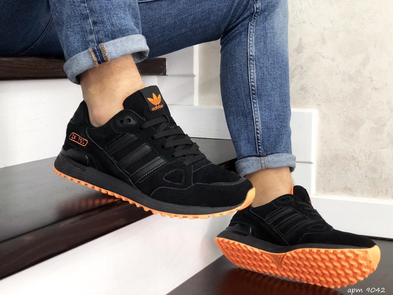 Мужские кроссовки Adidas ZX 750 (черные) 9042