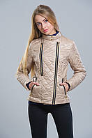 Куртка женская стежка клетка и декор змейки