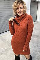 Трикотажное платье реглан с хомутом P-M - терракотовый цвет, M/L (есть размеры)