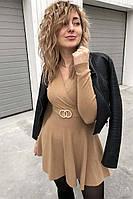 Платье-полусолнце с запахом и кольцами Enzoria - кофейный цвет, XS (есть размеры)