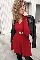 Платье-полусолнце с запахом и кольцами Enzoria - красный цвет, XS (есть размеры)