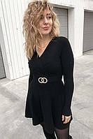 Платье-полусолнце с запахом и кольцами Enzoria - черный цвет, XS (есть размеры)