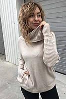 Широкий свитер с объемным хомутом и карманами EVIS - бежевый цвет, L/XL (есть размеры)