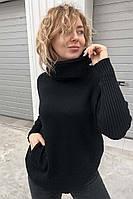 Широкий свитер с объемным хомутом и карманами EVIS - черный цвет, L/XL (есть размеры)