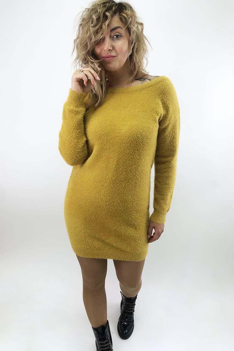 Платье-туника с блестящими завязками на спинке Moewy - горчичный цвет, L (есть размеры)