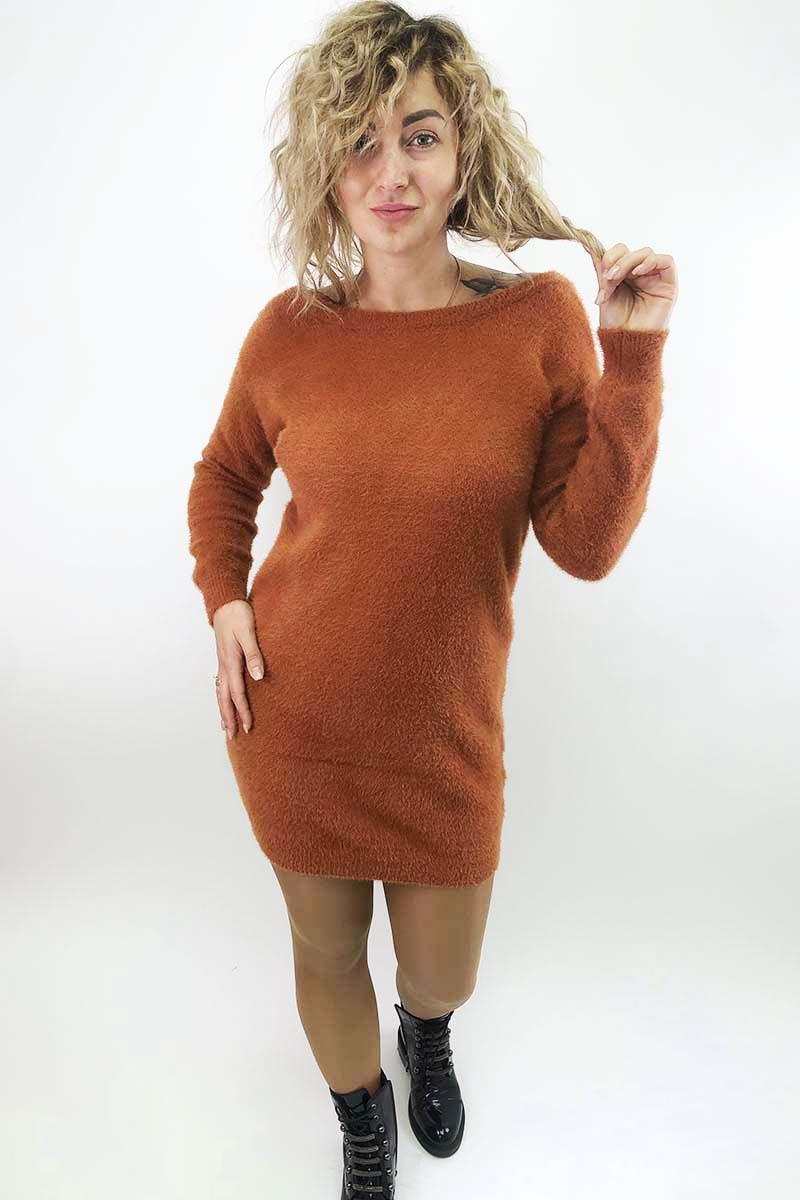 Платье-туника с блестящими завязками на спинке Moewy - терракотовый цвет, S (есть размеры)