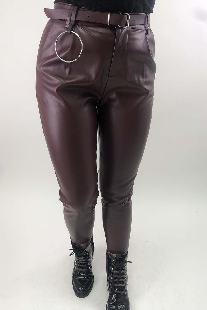 Кожаные штаны с кольцом на ремне MiLanSheng - бордо цвет, L (есть размеры)