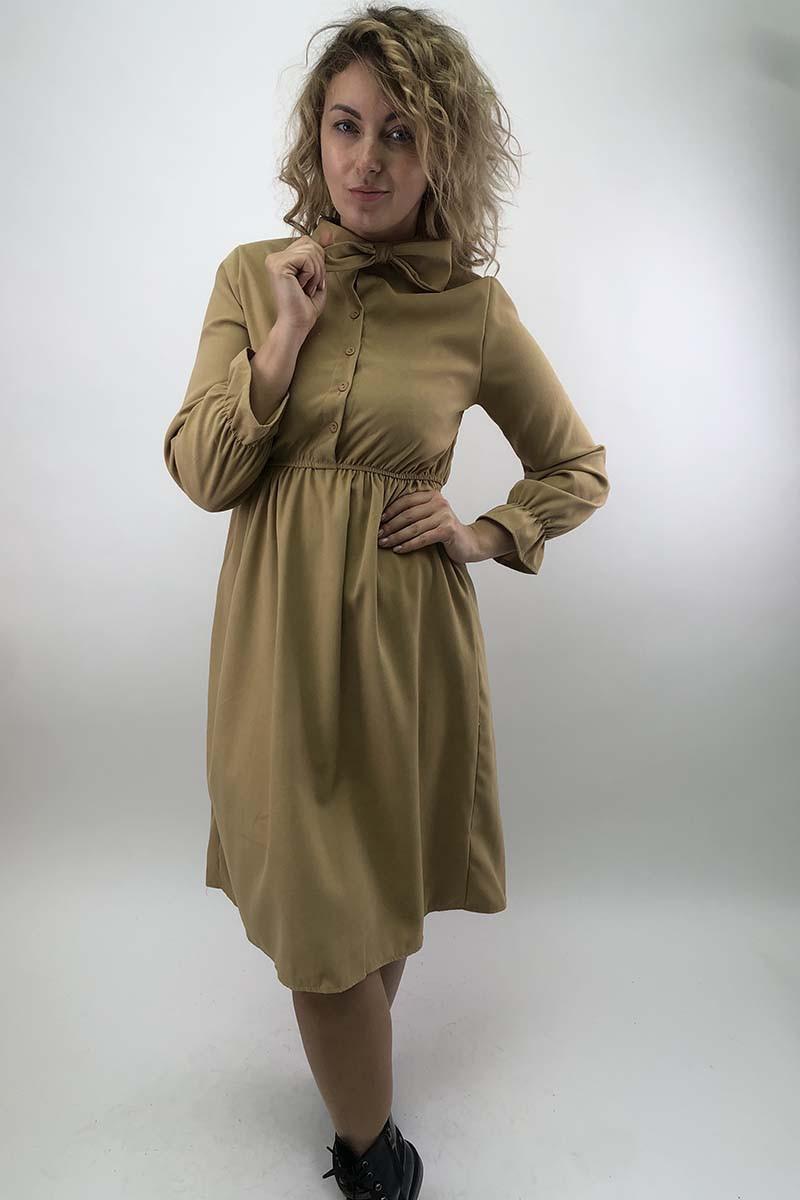 Платье на пуговицах с бантом  LUREX - бежевый цвет, L (есть размеры)