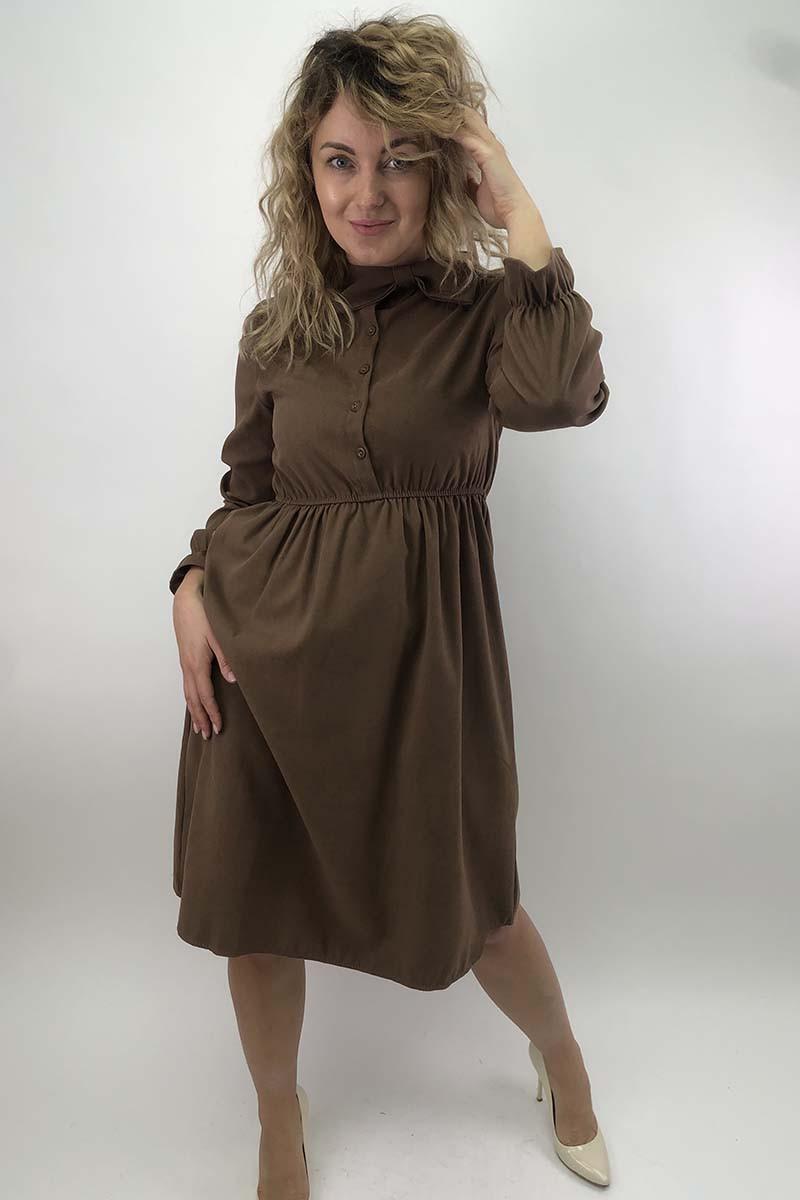 Платье на пуговицах с бантом  LUREX - коричневый цвет, L (есть размеры)