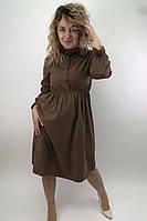 Платье на пуговицах с бантом  LUREX - коричневый цвет, L (есть размеры), фото 1