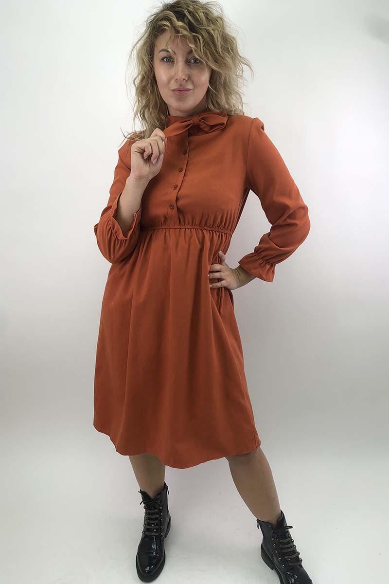 Платье на пуговицах с бантом  LUREX - терракотовый цвет, L (есть размеры)
