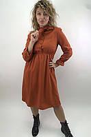 Платье на пуговицах с бантом  LUREX - терракотовый цвет, L (есть размеры), фото 1