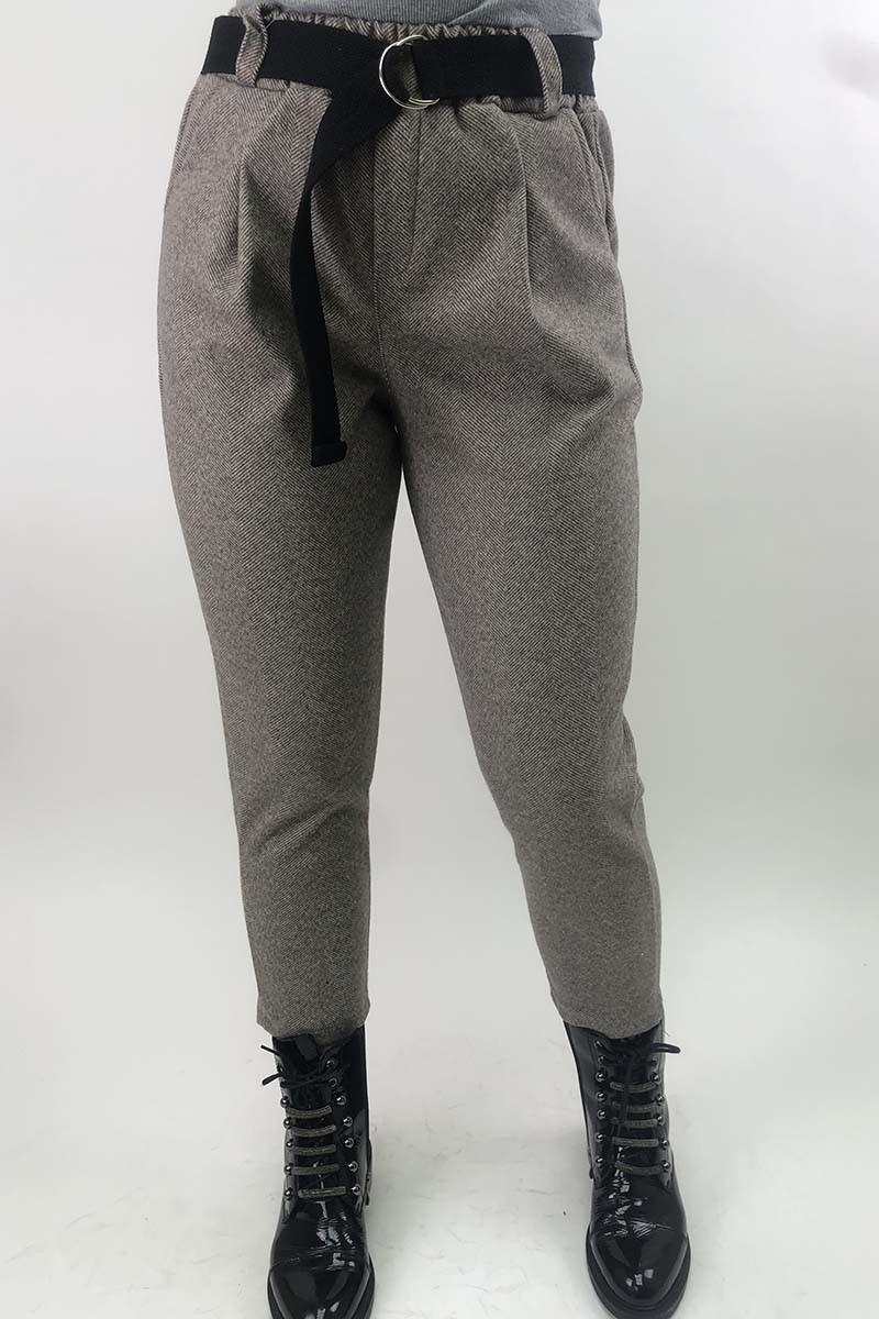 Суконные брюки в елочку JY - кофейный цвет, L (есть размеры)