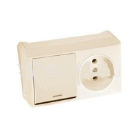 VIKO Горизонтальный блок Vera выключатель 1 кл., с подсв + розетка, крем (90681390)
