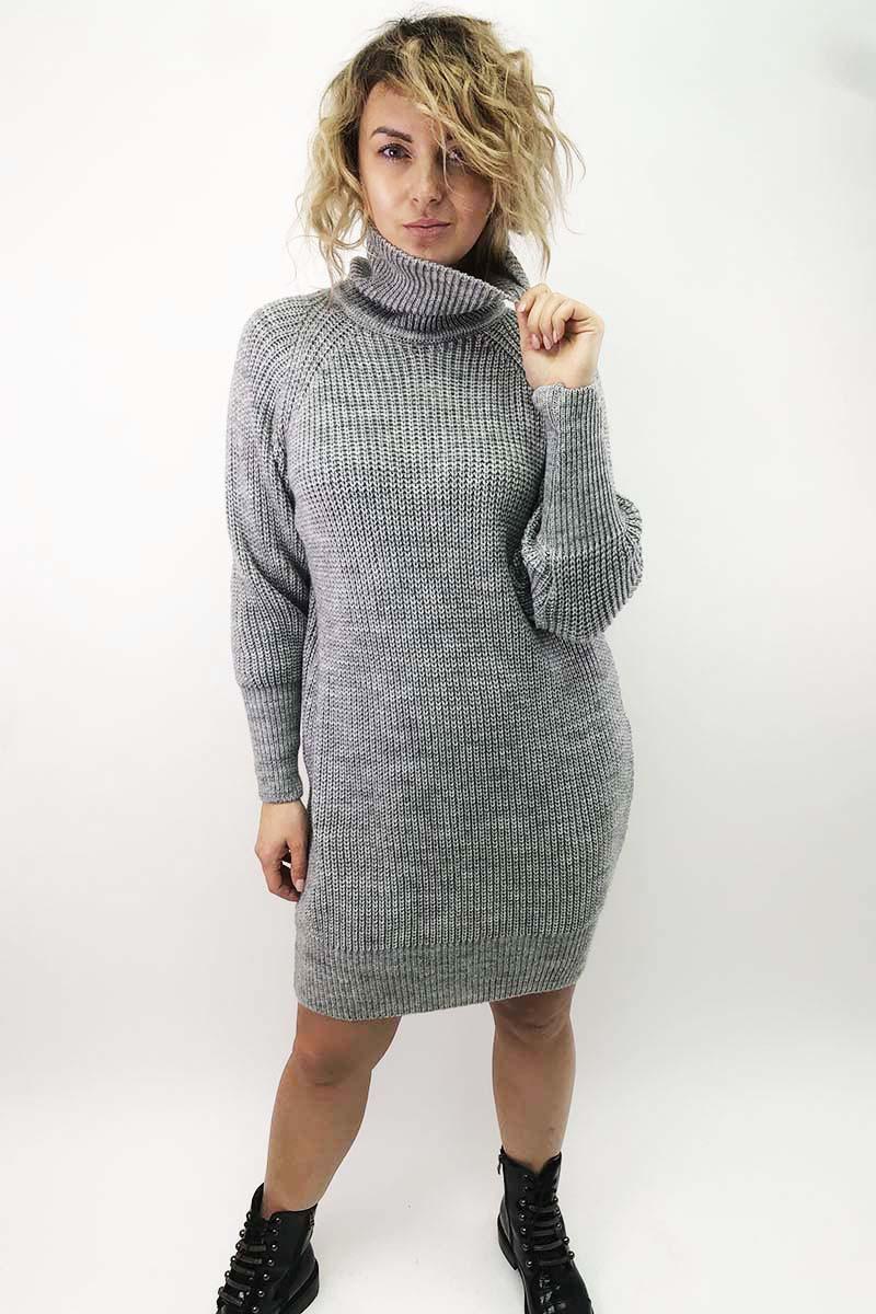 Платье-реглан с хомутом крупной вязки LUREX - серый цвет, L (есть размеры)